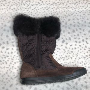 Coach Talen Fur Trim Winter Boot Monogram Suede